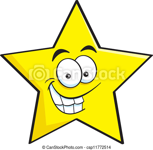 sourire, étoile, dessin animé - csp11772514