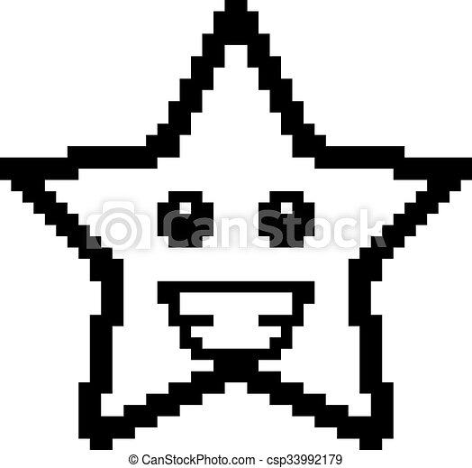 sourire, 8-bit, étoile, dessin animé - csp33992179