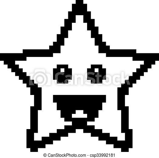 sourire, 8-bit, étoile, dessin animé - csp33992181