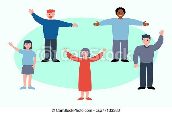 sourire, ados, groupe, amis, onduler, ou, filles, école, mains - csp77133380