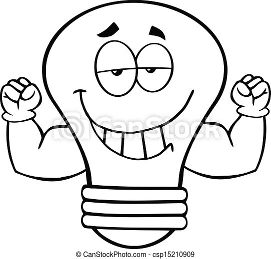 sourire, ampoule, esquissé, lumière - csp15210909