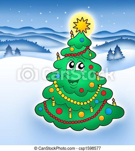 Sourire arbre no l paysage neigeux illustration neigeux couleur arbre sourire no l - Dessin sapin vert ...
