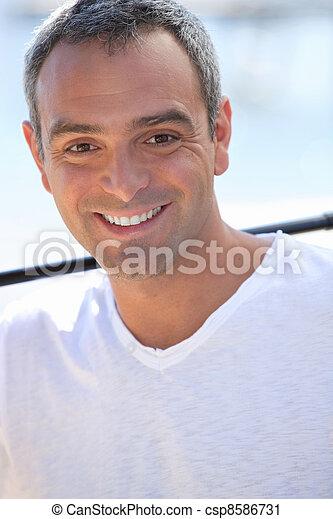 sourire, beau, homme - csp8586731