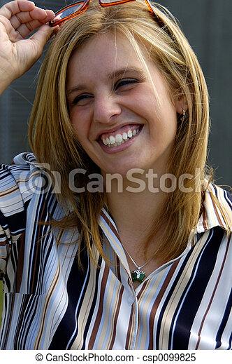 sourire, cadre, blonds - csp0099825