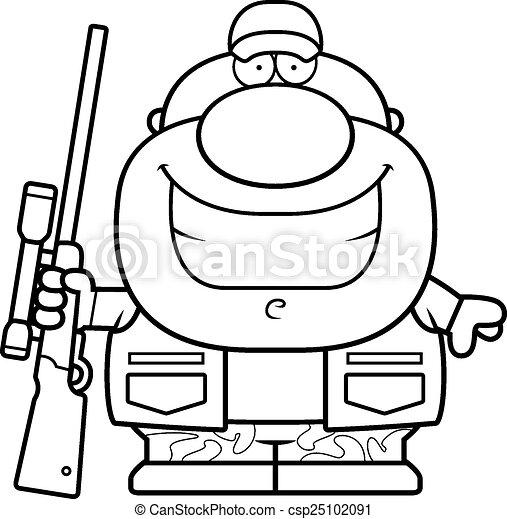 sourire, chasseur, dessin animé - csp25102091
