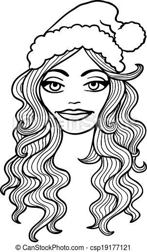 Sourire Contour Casquette Blanc Vecteur Fille Noire Noël Illustration