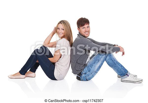 sourire, couple, dos, séance - csp11742307