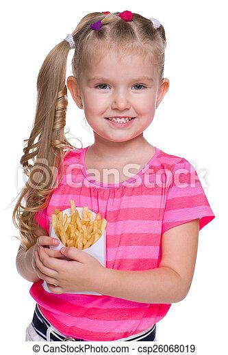 sourire, frire, petite fille - csp26068019