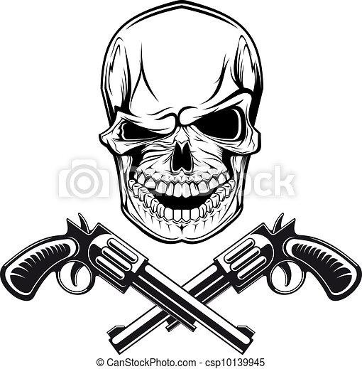 sourire, revolvers, crâne - csp10139945