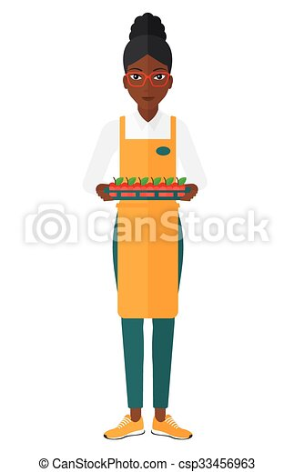 sourire, worker., supermarché - csp33456963