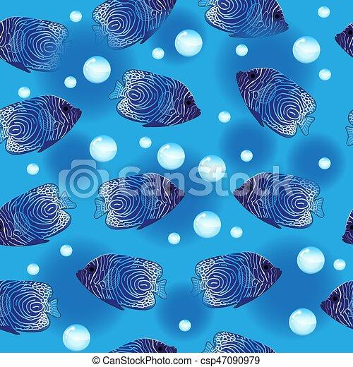 Sous Marin Wallpaper Poisson Ange Seamless Modèle Fond Vecteur Illustration Mer