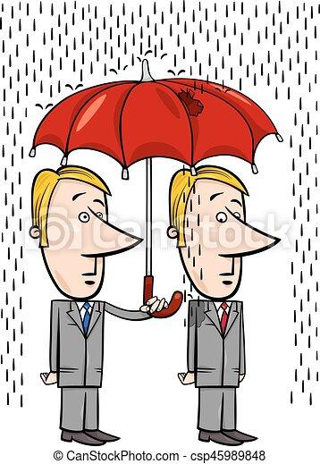sous, parapluie, dessin animé, hommes affaires - csp45989848