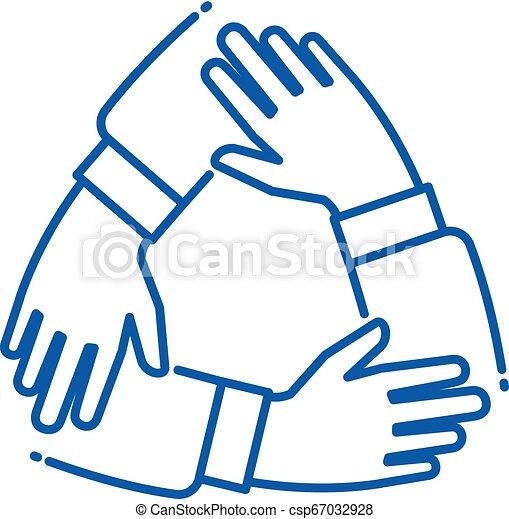 soutenir, alliance, business, fonctionnement, groupe, main., association, team., ensemble, chaque, unité, vecteur, collaboration, mains, ligne, autre, icône - csp67032928