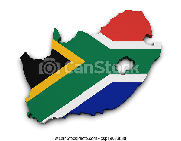 Shape Of Africa Map.South Africa Flag Map Shape Shape 3d Of South Africa Map With Flag