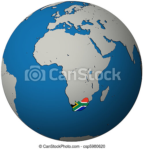 south africa flag on globe map - csp5980620