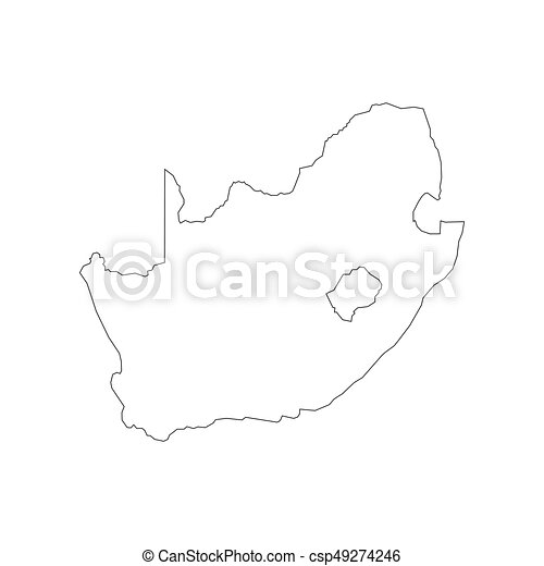 South Africa Map Outline On The White Background Vector Illustration