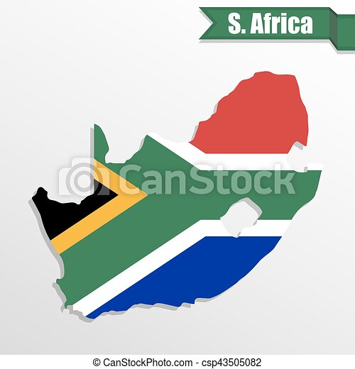 South Africa map with flag inside and ribbon - csp43505082