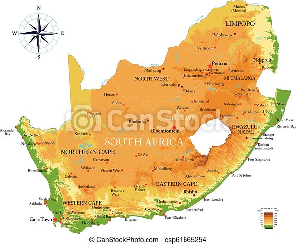 Physical Map Of South Africa.South Africa Physical Map