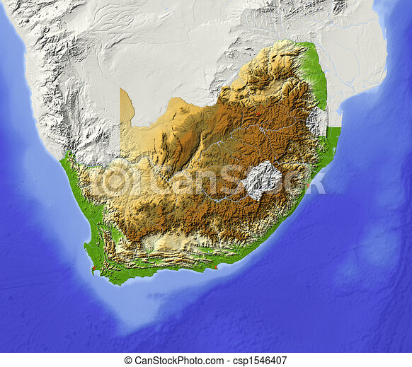 Relief Map Of Southern Africa.South Africa Shaded Relief Map