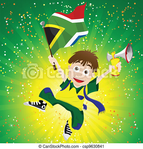 South Africa Sport Fan with Flag and Horn - csp9630841
