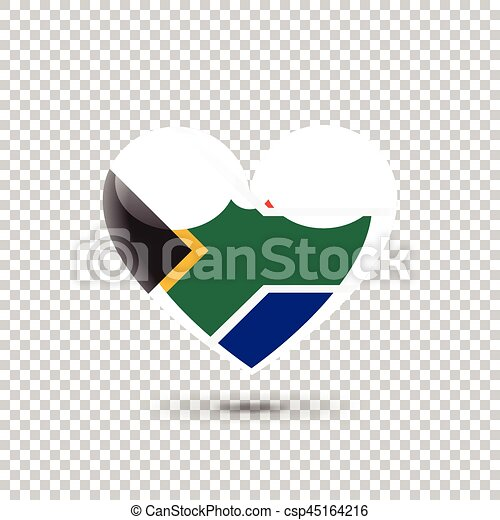 South African Flag Heart Icon on Transparent Background  Vector illustration