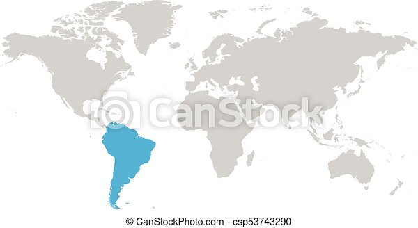 Good South America Continent Blue Marked In Grey Silhouette Of World Map. Simple  Flat Vector Illustration.