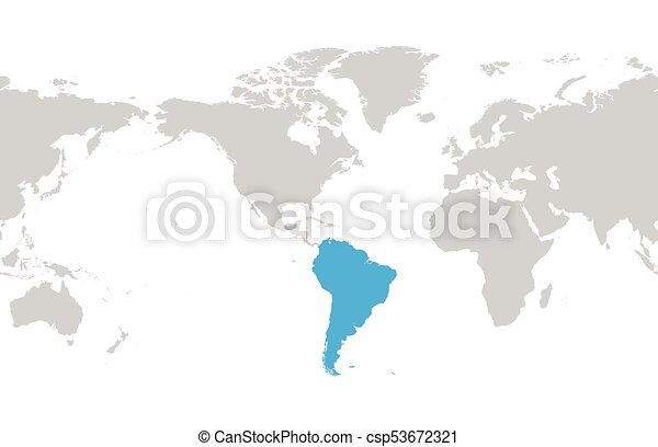 South america continent blue marked in grey silhouette of vector south america continent blue marked in grey silhouette of world map simple flat vector illustration gumiabroncs Choice Image