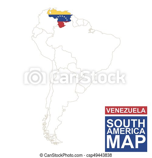 South america contoured map with highlighted venezuela vectors