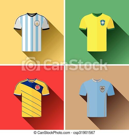 e3db8cfc23e South america jerseys flat icons.eps. Set of vector graphic flat ...