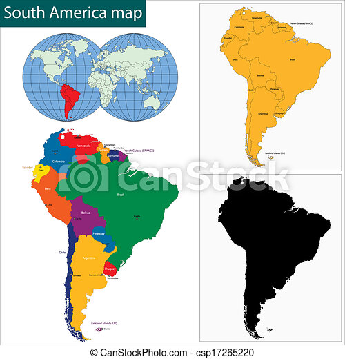 Colorful south america map with countries and capital cities.