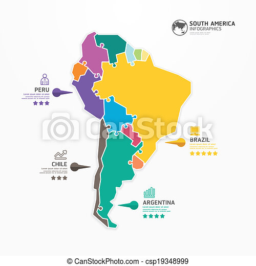 Map Of America Jigsaw.South America Map Infographic Template Jigsaw Concept Banner Vector Illustration