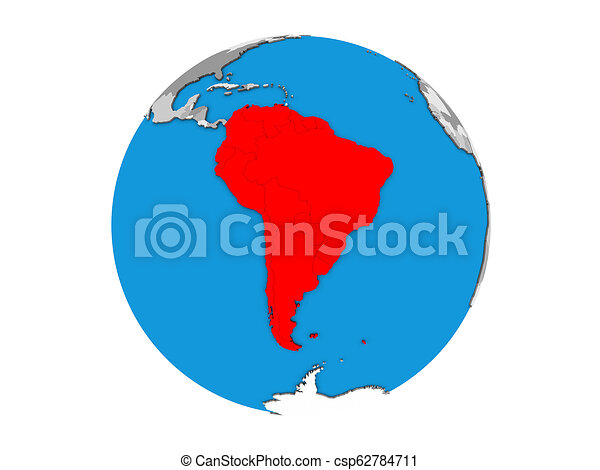 South America on 3D globe isolated - csp62784711