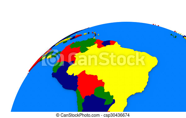 Stock Illustrations Of South America On Earth Political Map - Earth political map