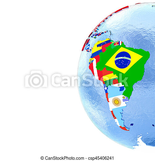 South America on political globe with flags on map of antarctica globe, map of pacific ocean globe, map of world globe,
