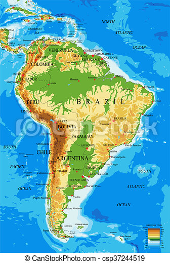 South america-physical map. Highly detailed physical map of south ...