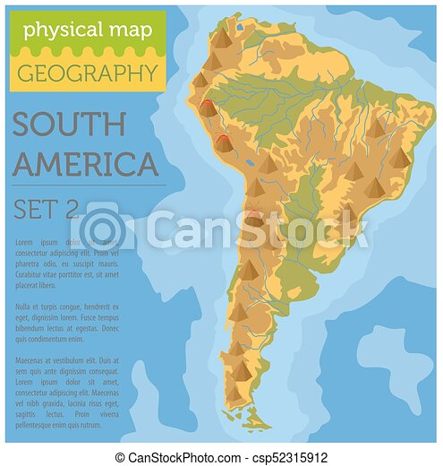 South America Physical Map Elements Build Your Own Vector Clip - South america physical map