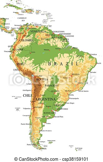 South Americaphysical Map Highly Detailed Physical Map Of - Chile physical map