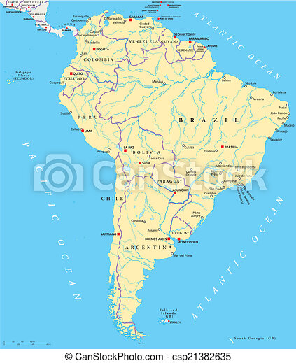 South America Political Map Political Map Of South America With