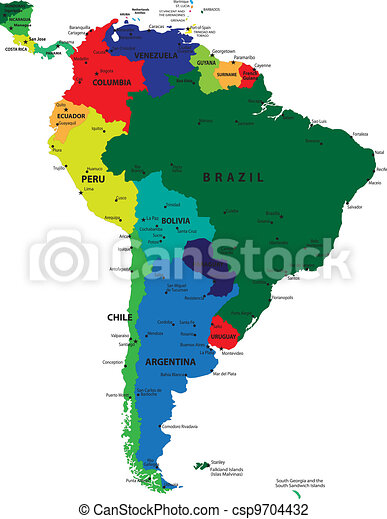 South america political map with each country selectable independent.