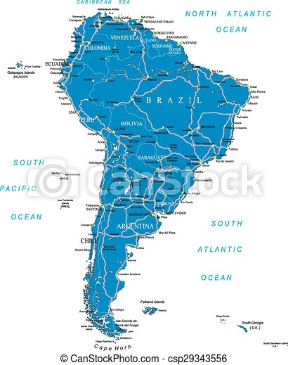 South america road map highly detailed vector map of south america south america road map csp29343556 gumiabroncs Image collections