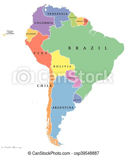 South America Single States Map South America Single States