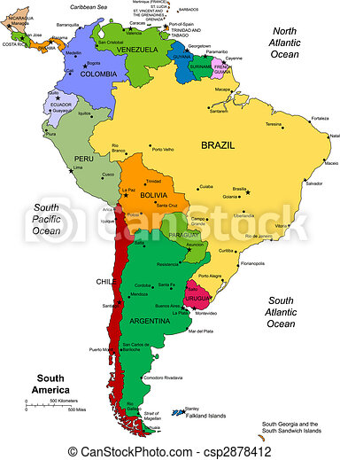 South america with editable countries. South america regional map ...