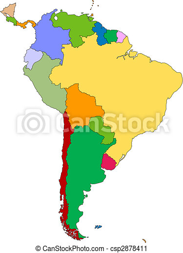 South America with editable Countries - csp2878411