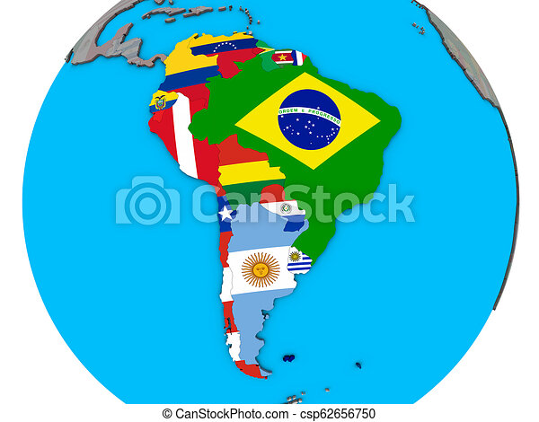 South America with flags on 3D map on map of antarctica globe, map of pacific ocean globe, map of world globe,