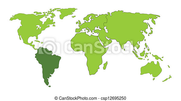 south america on world map
