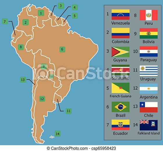 South American Map and South American countries flags with names