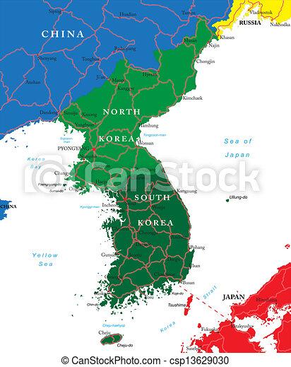 Ulsan Korea Map.South And North Korea Map Highly Detailed Vector Map Of Korean