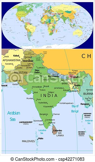 South Asia And World World Map And Close Up Of Southern Stock - World map asia