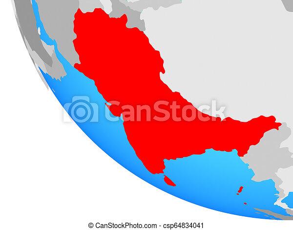 South Asia on globe - csp64834041