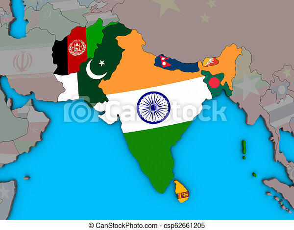 Map Of Asia 3d.South Asia With Flags On 3d Map
